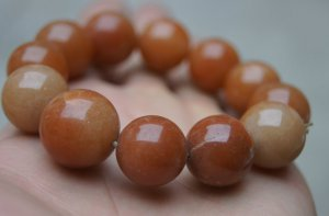 Yellow natural jade bracelet, hand-carved, Huang Cuiyu 12 beads, beads