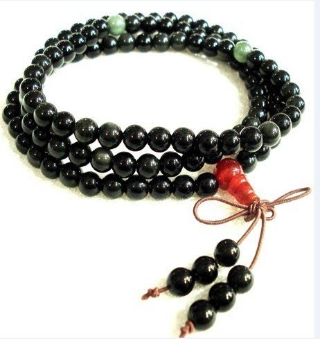 Obsidian bracelet, hand-carved (6 mm), 108 Mala Yoga meditation beads.