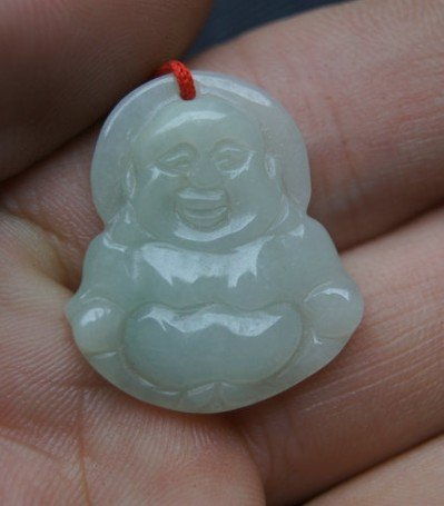 Natural jade pendant, hand-carved white jade Buddha. Amulet Pendant