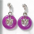 Miao silver inlaid butterfly-shaped, purple jade earrings. Beautiful woman (one pair price)
