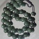 Tibetan Buddhist prayer beads; ink jade necklace, 8mm 108 bead Mala Yoga meditation