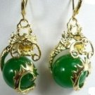 Miao Silver Dragon retro mosaic, green jade ball earrings. Ms. beautiful choice