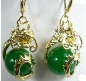 Miao Silver Dragon retro mosaic, green jade ball earrings. Ms. beautiful choice