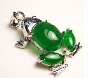 Frog Miao silver inlay green jade lucky pendant, Christmas gifts