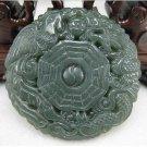 Natural dark green jade pendant. Dragon / Phoenix gossip pendants, Christmas gifts
