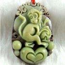 Hand-carved zodiac -  monkey pendant. Purple Jade,