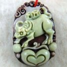 Purple jade, hand-carved Zodiac - cow pendant. Amulet