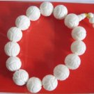 Hand-carved, lotus, white clam beads, 15mmx15 bracelets, beads