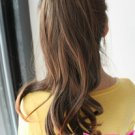 Big wave of supernatural tail wig of long hair claw clip girls black wig piece,