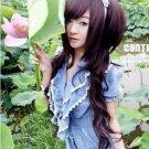 Long curly hair wig wig wig oblique Miss Liu Hai, black, dark brown, light brown