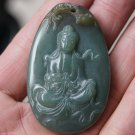 Natural (oil green) jade.Guanyin Buddha pendant.Talisman.