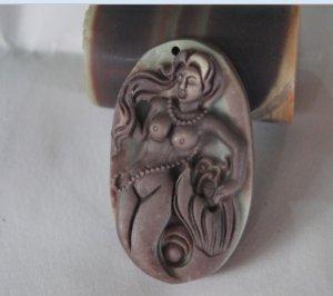 Natural purple robe jade pendant. Hand carved mermaid necklace.Pendant