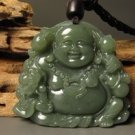 And Tian Qingyu stone, carved amulet pendant necklace meditating Buddha (Maitreya).