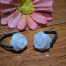 Natural white jade rings, hand-carved, peony flowers, hand-woven rings, charm (on prices)