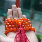 Tibetan Buddhist prayer beads, 12 mm orange jade, 108 beads, meditation yoga spicy beads,