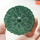 Hand-carved ornaments, jade green retro care center mirror. Zhuanzi luck.