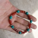 Red agate bamboo + turquoise + Tibetan silver lanterns, rubber band strung bracelet.