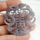 Light gray jade, Ssangyong send blessing to send (longevity) (amulet). Necklace pendant.