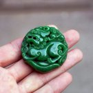 Green jade brave troops.(Affectionate father and son). Pendant necklace