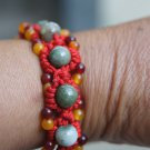 Natural multi-color jade.10 beads. Clever hand-woven bracelets
