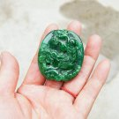 Hand-carved green jade brave troops (oval) double-sided engraving. Necklace pendant