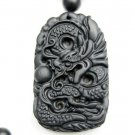 Hand-carved.Natural Si Bin Stone.(Amulet) dragon pendant. 8 mm bead necklaces