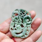 Sided openwork the ginger flower Xiuyu, Longfengchengxiang.. Necklace pendant.52x39x5mm.
