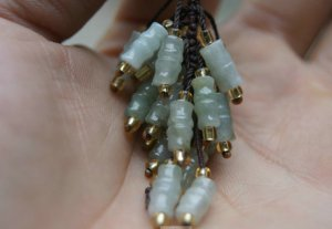 A combination of natural jade pendant bamboo, hand-polished, auto accessories, handbags pendant