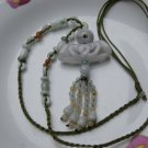 The natural jade Passepartout + transport beads +4 vase. Hand-carved, charm necklace pendant.