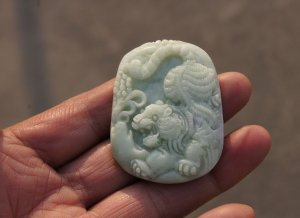 Natural white jade, tiger necklace pendant (amulet) 50x38x8 mm