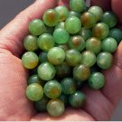 Handmade beads, rate the yellow and white 3-color jade, a diameter of about 10 mm (40 to a pack)
