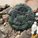 Natural dark green jade. Phoenix, (the hi word) lucky jade necklace pendant 48x48x6mm