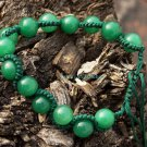 Hand-woven Serpentine Bracelet, 14, 10 mm diameter green jade beads.