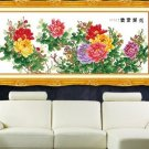 Cross-stitch finished new living room. Peony flowers rich. 160x63CM