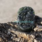 The carp natural dark green jade, hand-carved necklace pendant (mother and Wife) 45x33x6 mm.