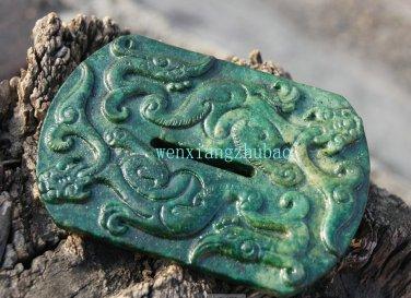 Retro green jade dragon and phoenix jade wall. Necklace Pendant 94x64x8mm