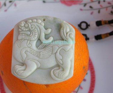 Natural white jade pendant. For 54x40 x5mm of handmade jade unicorn, necklace pendants