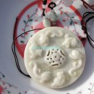 Sided carving, natural white jade, the retro Lee Tiger Bi, necklace, pendants.66x11mm