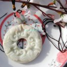 Natural white jade, double-sided carved ancients cirrus Bi, necklaces, pendants.66x9mm