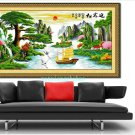 Welcoming song. Mountains, rivers, living room painting cross stitch finished 180 x75CM