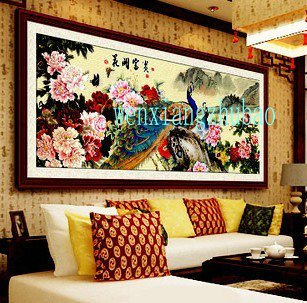 The flowers rich, peony, peacock figure, living room painted cross-stitch finished 170 x70CM
