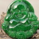 Handmade, full of green jade pendant, jade amulets, money Buddha. Necklace pendant 44x40x8mm