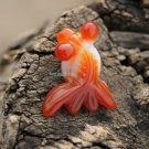 Red and white agate, hand-carved, lovely goldfish. Necklace pendant. 28x21x10mm