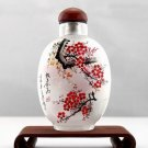 Snuff bottle antique hand-painted plum good news, hand pieces, collectibles. 9x6cm