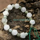 Hand-woven bracelet, white jade, hand-carved plum, plum +11 10 beads,