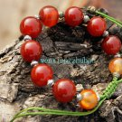 Natural red agate bead bracelet, 10mm beads 10 + Tibetan silver lanterns, hand-weaving.