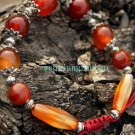 Red agate beads bracelet, 14 mm beads +12 MM4 +10 mm + long beads Tibetan silver, hand-woven.