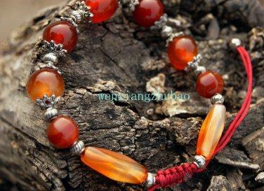 Red agate beads bracelet, 14 mm beads +12 MM4 +10 mm + long beads Tibetan silver, hand-woven.