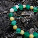 Hand-carved, natural green agate bracelet, diamond 12 + Topaz 12, a rubber band strung