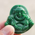 Green jade amulet, wearing prayer beads fish Laughing Buddha. Necklace Pendants 44x44x14mm